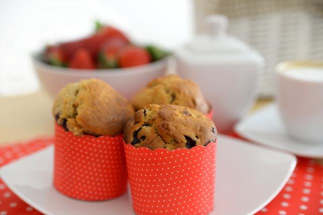 muffiny z borowkami i bananem