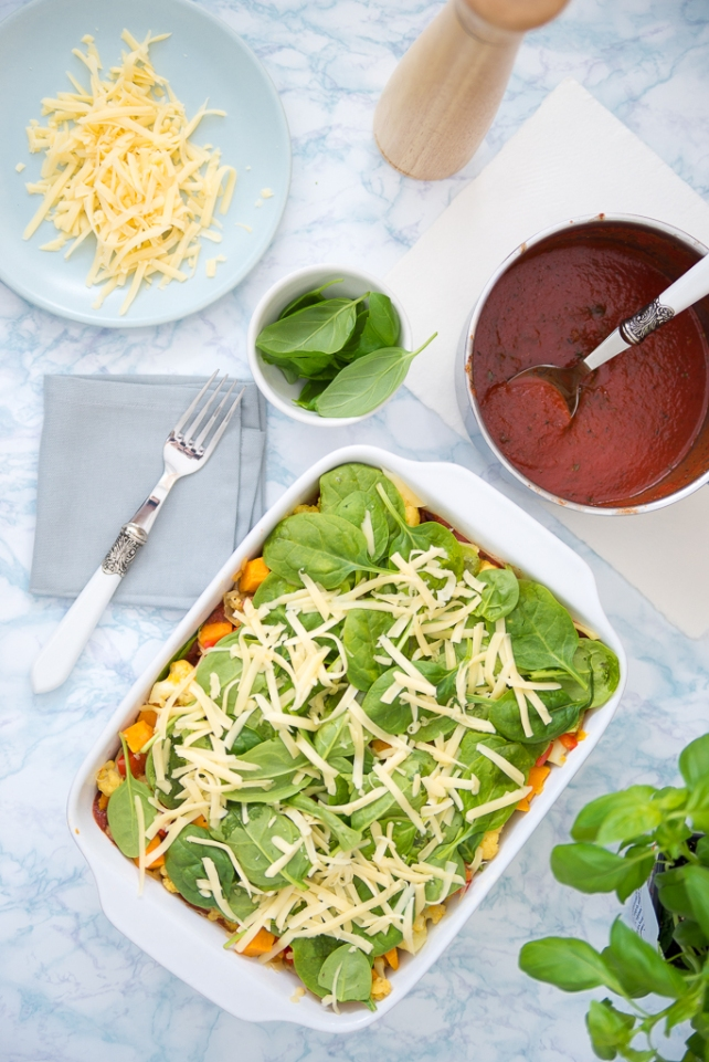warzywna lasagna z kalafiorem